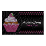 Modern Sparkling Cupcake Monogram Pastry Chef Business Card Template