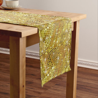 Modern, Sparkling, Faux, Gold Glitter, Christmas Medium Table Runner