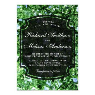 Modern Sparkling Green Diamonds Wedding Invitation