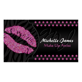 Modern Sparkling Zebra Monogram Make Up Artist Pack Of Standard Business Cards