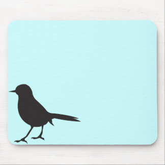 Modern sparrow bird silhouette blue girly chic mouse pad
