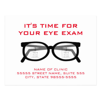 Modern Spectacles Eye Exam Appointment Reminder Postcard