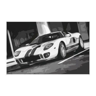 Modern Sports Car with Two Stripes Ready for Speed Canvas Print
