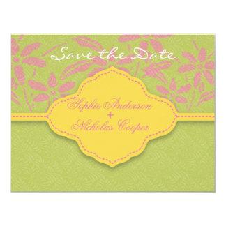 Modern spring damask flower save the date card