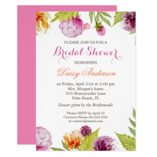 "Modern Spring Floral Decor Wedding Bridal Shower 5"" X 7"" Invitation Card"