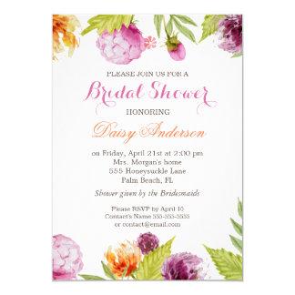 "Modern Spring Floral Decor Wedding Bridal Shower 5"" X 7"" Invitation Card"