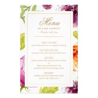 Modern Spring Floral Easy Edit Wedding Dinner Menu Custom Flyer