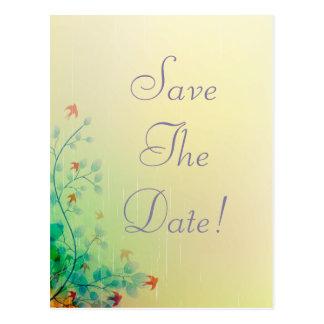 Modern Spring Floral Wedding Save The Date Postcard