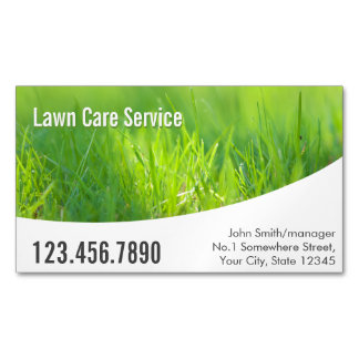 Modern Spring Green Lawn Care Business Card Magnet