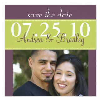 "Modern Spring Green Purple Wedding Save the Date 5.25"" Square Invitation Card"