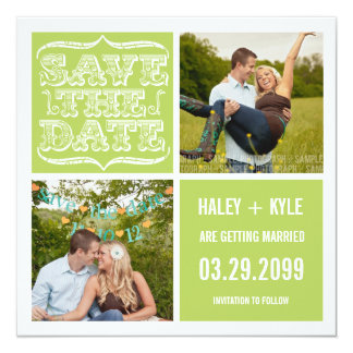"Modern Spring Green Save the Date Photo Cards 5.25"" Square Invitation Card"