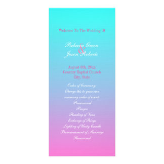 modern spring pink turquoise ombre wedding program customized rack card