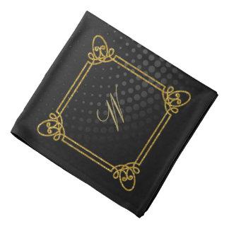 Modern Square Monogram on Black Circular Bandana