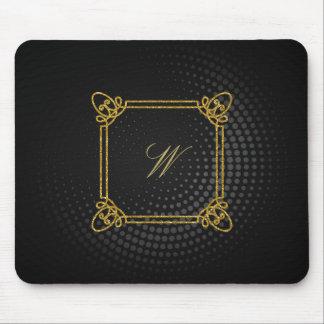 Modern Square Monogram on Black Circular Mouse Pad