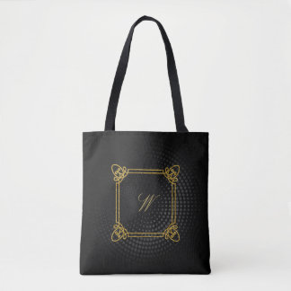 Modern Square Monogram on Black Circular Tote Bag