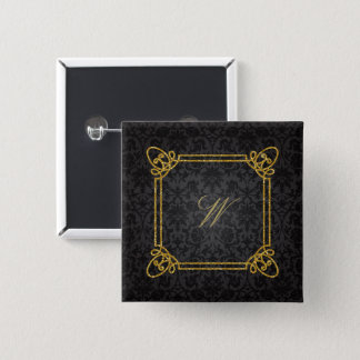 Modern Square Monogram on Black Damask 2 Inch Square Button
