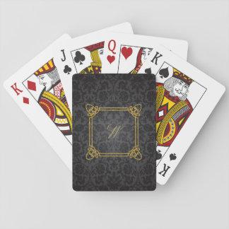 Modern Square Monogram on Black Damask Playing Cards