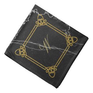 Modern Square Monogram on Black Marble Bandana