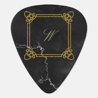 Modern Square Monogram on Black Marble Guitar Pick