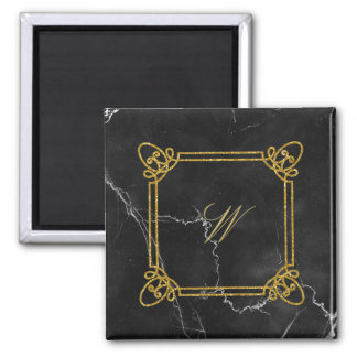 Modern Square Monogram on Black Marble Magnet