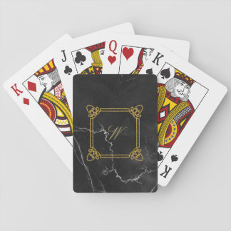 Modern Square Monogram on Black Marble Playing Cards