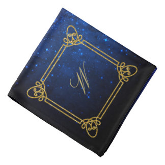 Modern Square Monogram on Blue Galaxy Bandana