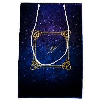 Modern Square Monogram on Blue Galaxy Medium Gift Bag
