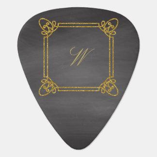 Modern Square Monogram on Chalkboard Guitar Pick