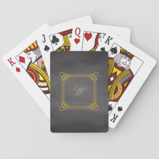 Modern Square Monogram on Chalkboard Playing Cards