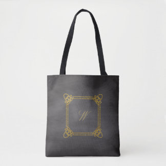 Modern Square Monogram on Chalkboard Tote Bag