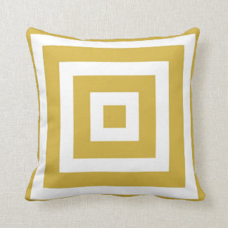 Modern Square Pattern in Mustard and White Throw Pillow