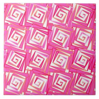 Modern Square Spirals, Coral Pink Ceramic Tile