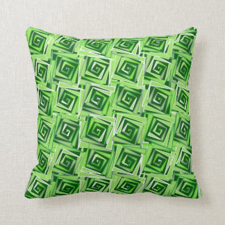 Modern Square Spirals, Jade Green Throw Pillow