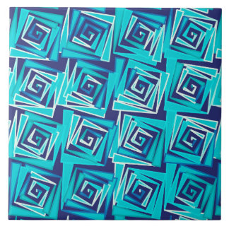 Modern Square Spirals, Navy and Aqua Tiles