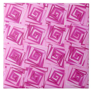 Modern Square Spirals, Orchid and Violet Tile