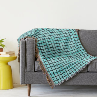 Modern_Squares(c) Turquoise_Blue-Blanket_ Throw Blanket