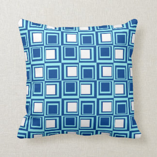 Modern squares, light and dark indigo with white throw pillow