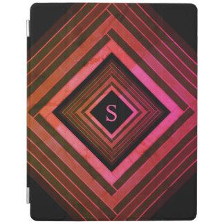 Modern Squares Rustic Pink Geometric Monogram iPad Cover
