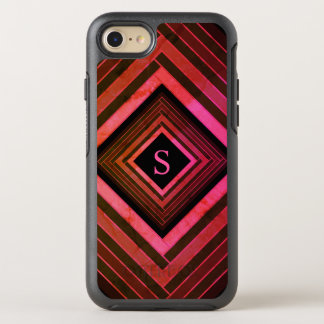 Modern Squares Rustic Pink Geometric Monogram OtterBox Symmetry iPhone 8/7 Case