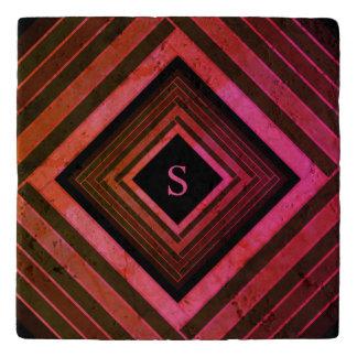 Modern Squares Rustic Pink Geometric Monogram Trivet