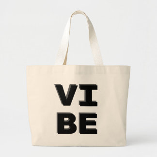 Modern Stacked VIBE Print Large Tote Bag