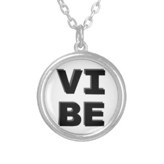 Modern Stacked VIBE Print Silver Plated Necklace