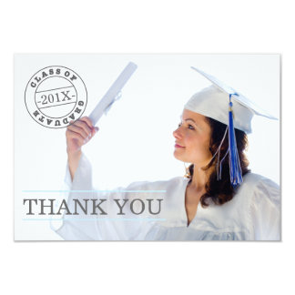 Modern Stamp Photo Graduation Thank You | Blue Card