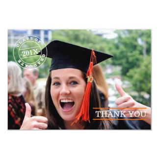 Modern Stamp Photo Graduation Thank You   Orange Custom Invitation