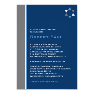 Modern Star Bar Mitzvah Invitation