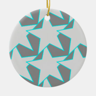 Modern Star Geometric - grey and turquoise Christmas Ornament