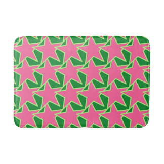 Modern Star Geometric - watermelon pink and green Bath Mat