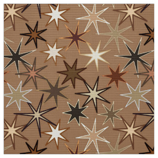 Modern Starburst Print, Coffee Brown and Beige Fabric