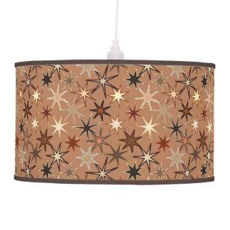 Modern Starburst Print, Coffee Brown and Beige Pendant Lamp