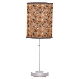 Modern Starburst Print, Coffee Brown and Beige Table Lamp